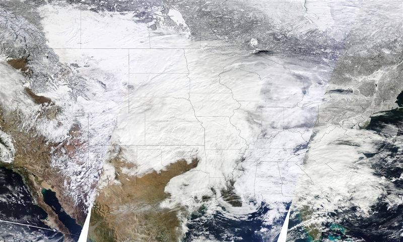Sat image snow covered US